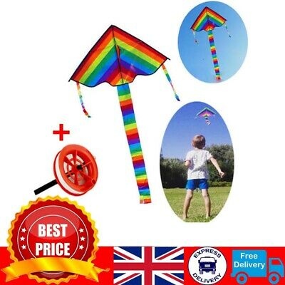 Colorful Rainbow Kite Outdoor Flying Toys Kids Adults Great Beginner Kite + Line • 5.99£
