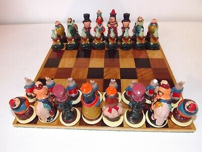 Beautiful Alice In Wonderland Chess Set In Marquetry Box • 100£