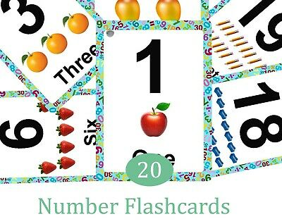 Numbers 0-20 Flash Cards Kids Toddlers  Educational Pre School Learning • 4.50£