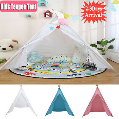 Large Canvas Kids Teepee Indian Tent Childrens Wigwam Indoor Outdoor Play House~ • 18.98£