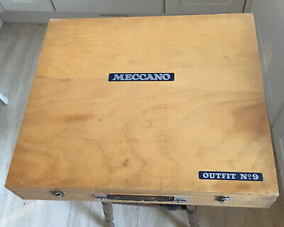 Vintage Meccano Outfit 9 In Wooden Box. Complete With Manuals. 1970-72. • 425£