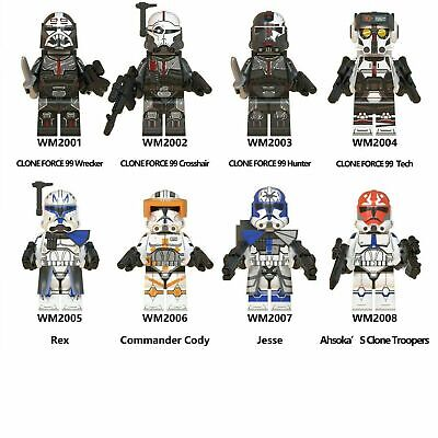 8 Pcs Minifigures Lego MOC Star Wars Rex Fox Wolfpack StormTrooper & Weapons New • 14.95£