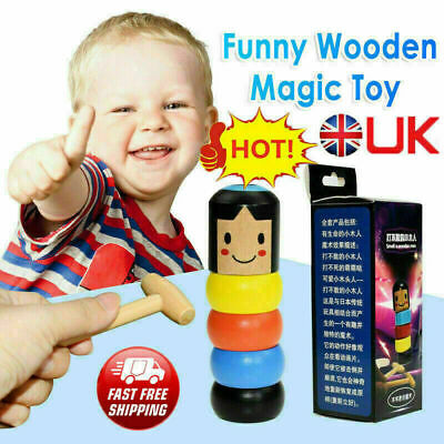 UK Unbreakable Wooden Magic Toy The Wooden Stubborn Man Toy FUNNY Kids Gifts • 3.82£