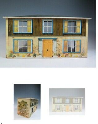 Lovely Early 1960's Mettoy Tinplate Dolls House. All With Original Decor Rooms • 48£