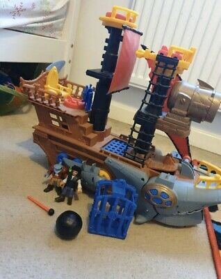 Imaginext Fisher Price Shark Bite Pirate Ship Playset & Figures & Accessories • 15£