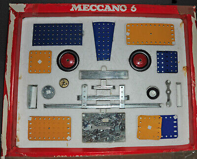 VINTAGE MECCANO ( Triang ) SET 6 BLUE  & YELLOW WITH MANUALS 1970's BOXED • 20£