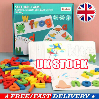 Early Education English Spelling Toy Wooden Cardboard Alphabet Game Educational~ • 8.77£