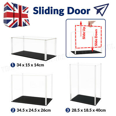 Sliding Door Acrylic Display Case Dustproof Box Perspex Clear Collectibles Large • 26.99£