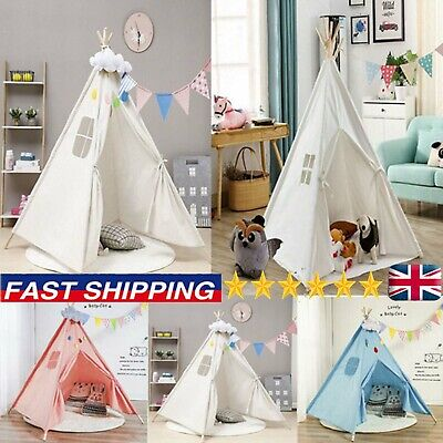 Large Canvas Kids Teepee Indian Tent Childrens Wigwam Indoor Outdoor Play House • 20.99£