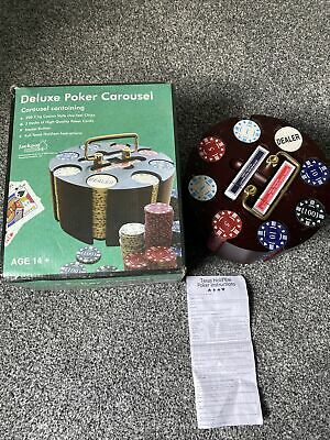 200 Poker Chips & Cards In  Deluxe Wooden Rotating Carousel Caddy Texas Hold'em • 49.99£