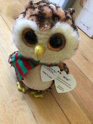Ty Beanie Boo's Collection Wise Brown Owl Green Red Scarf New With Tag • 1.49£