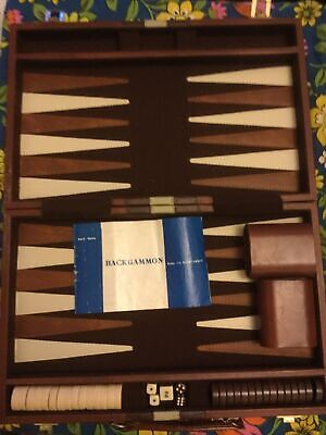 Large VINTAGE TRAVELLING Case Backgammon Brown Cream Faux Leather Free Postage • 25£