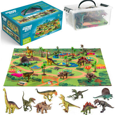 Realistic Dinosaur Kids Toys Figures Playset With Play Mat & Trees Educational • 14.99£