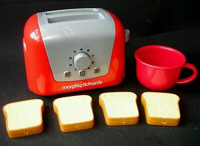 Casdon Morphy Richards Play Pretend Red Toaster Cup & Slices Of Bread Preschool • 7.75£