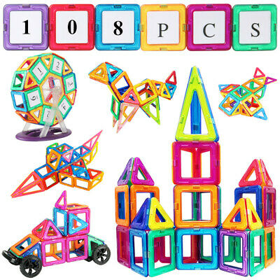 Magnetic Building Blocks Tiles Kids Educational Set Construction Toys 108 PCS • 18.99£