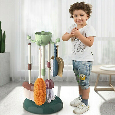 Cleaning Set Toy Kids Pretend Play Kit 5 Pcs Cleaning Playset Mop Brush Dustpan • 12.99£