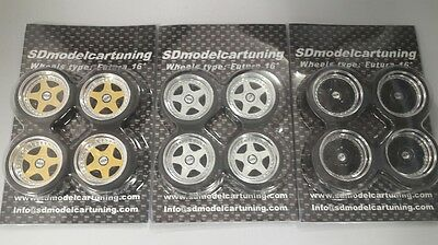 1:18 Scale OZ FUTURA 16 INCH TUNING WHEELS WITH SEVERAL COLOR OPTIONS, NEW!! • 14.50£