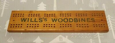 Vintage Wooden Cribbage Board Advertising Will's Woodbines • 7.99£