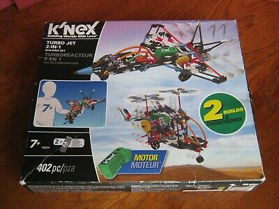 K'NEX 2-IN-1 TURBO JET BUILDING SET - 402 Pieces With Instructions And Motor • 12.99£