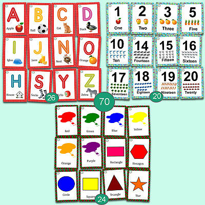 Toddlers First 100 Words Flashcards Alphabets Numbers Shapes Colour Learning Set • 13£