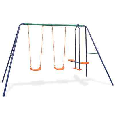 VidaXL Swing Set With 4 Seats Orange Outdoor Children Activity Playset Frame • 111.99£