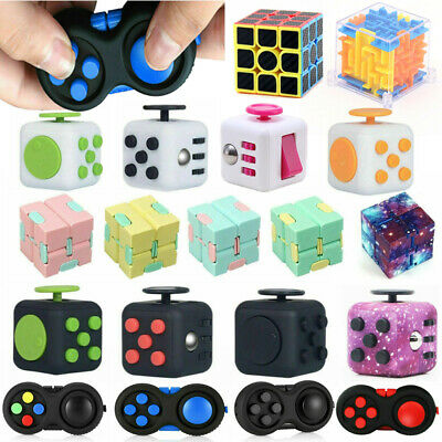 Fidget Hand Finger 3D Cube Focus Stress Relief ADHD Toy Gift Magic Kids Adults • 3.99£