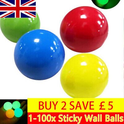 Sticky Globbles Balls Toy Fluorescent Sticky Wall Balls Anti-Stress Target Ball • 8.15£