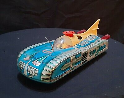 Vintage Hungarian 'HoldAuto' Blue Space Car Tin Toy • 24.90£