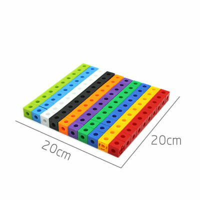 100 X 2cm Maths Link Cubes Interlocking Snap Cubes Counting Snap Blocks Toy Gift • 9.39£