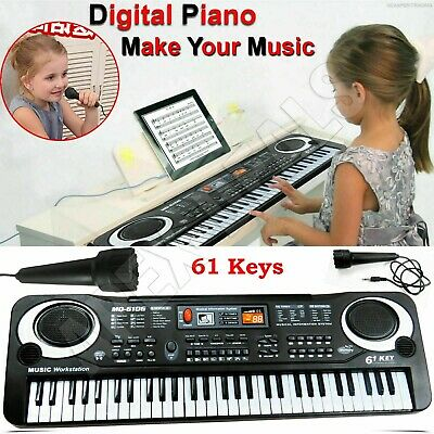 Digital Music Electronic Keyboard 61 Keys Electric Piano Organ & Microphone Set • 13.49£