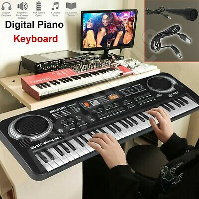 61 Keys Musical Keyboard Piano Electronic Electric Digital Beginner Kids Set New • 13.75£