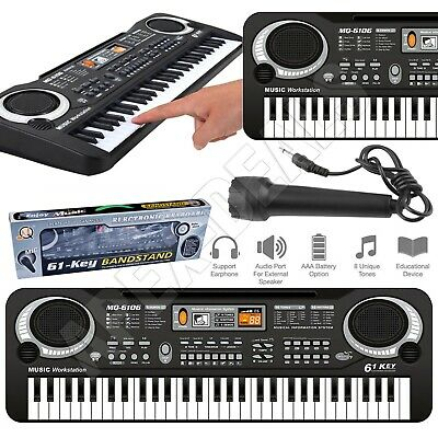 61 Keys Electronic Keyboard Digital Piano MIC UK Plug MP3 Musical Instrument Set • 13.89£