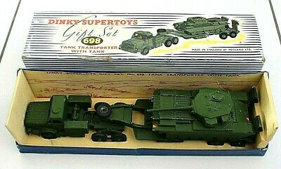 Dinky Supertoys Gift Set 698 Tank Transporter With Tank - Boxed • 50£