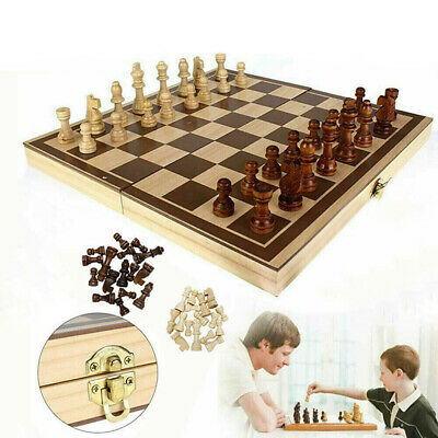 UK  Chess Wooden Set Folding Chessboard Magnetic Pieces Wood Board New • 9.69£