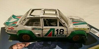 VINTAGE BURAGO FIAT 131 ABARTH RALLY 1.24 SCALE DIECAST MODEL CAR ALITALIA 1970s • 15£