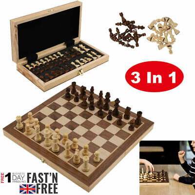 Large Chess Wooden Set Folding Chessboard Magnetic Pieces Wood Board Travel Game • 20.59£
