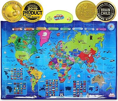 BEST LEARNING I-Poster My World Interactive Map - Damaged Box, Free Delivery • 42£