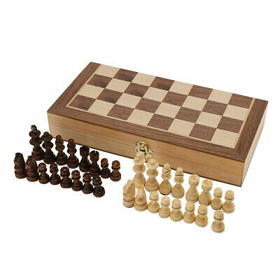 Large Chess Wooden Set Folding Chessboard Pieces Wood Board Brown • 12.49£