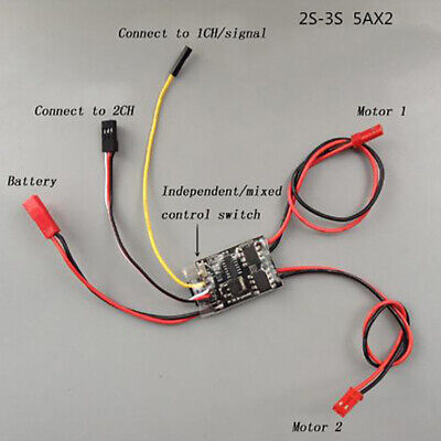 Dual Way Bidirectional Brushed Esc 2s-3s Lipo 5a Esc Speed Control For Rc MmW8P • 8.80£
