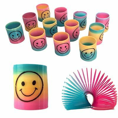 12 Mini Slinky Rainbow Smile Face Spring Kid Toy Party Bag Filler Pinata Novelty • 2.49£