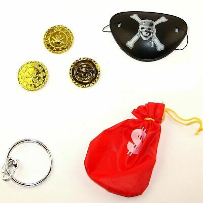 Captain Jack Pirate Pouch Set With 3 Pirate Coins,Eye Patch & Earring • 2.39£