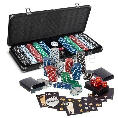 New! Poker Set - 500 Pcs Laser Chips Texas Hold Em Cards Dice Decks Casino Game • 59.95£