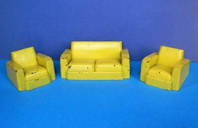 CRESCENT VINTAGE 1950s RARE DIECAST DOLLS HOUSE YELLOW THREE PIECE LOUNGE SUITE • 59.49£