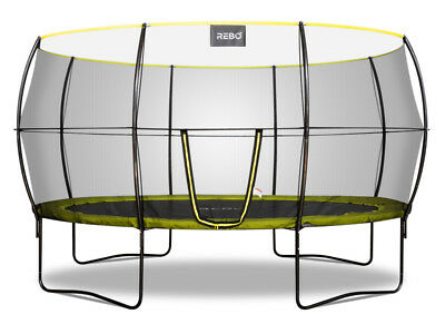 Rebo Base Jump 2 Oval Garden Trampoline With Halo II Enclosure - 2 Sizes • 399.96£