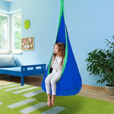 Swing Seat Hammock Nook Play Kids Nest Children Rope Blue Indoor Outdoor • 33.99£