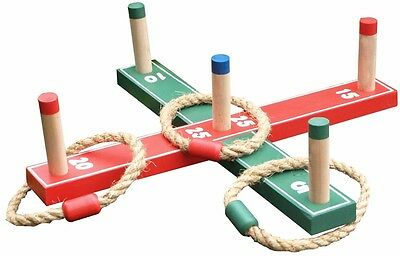 Wooden Quoits Ring Toss Pegs Game & 5 X Rope Rings Garden Hoopla Family Set 1011 • 7.49£