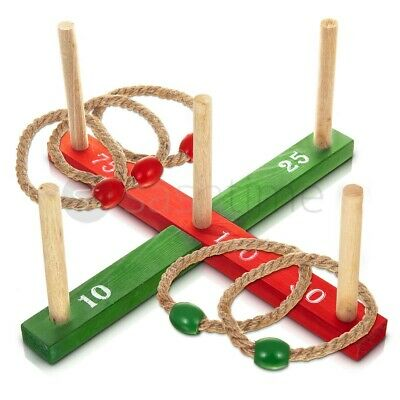 Wooden Garden Indoor Outdoor Quoits Family Pegs And Rope Hoopla Game Ring Toss  • 8.95£