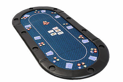 Folding Poker Table Top In Blue Speed Cloth With Leather Armrest And Case 200cm • 94.99£