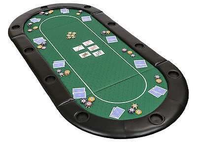 Folding Poker Table Top In Green Speed Cloth With Leather Armrest And Case 200cm • 94.99£