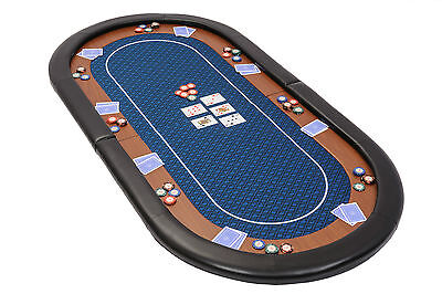 Champion Folding Poker Table Top In Blue Speed Cloth 180cm With Leather Armrest • 89.99£